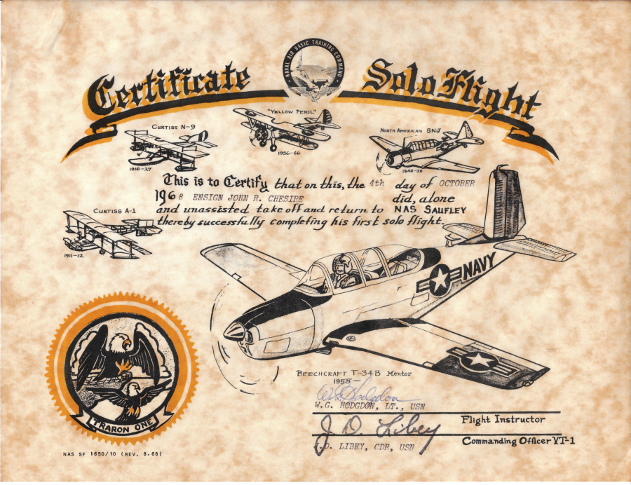 Avroc and flight training nas pensacola for First flight certificate template